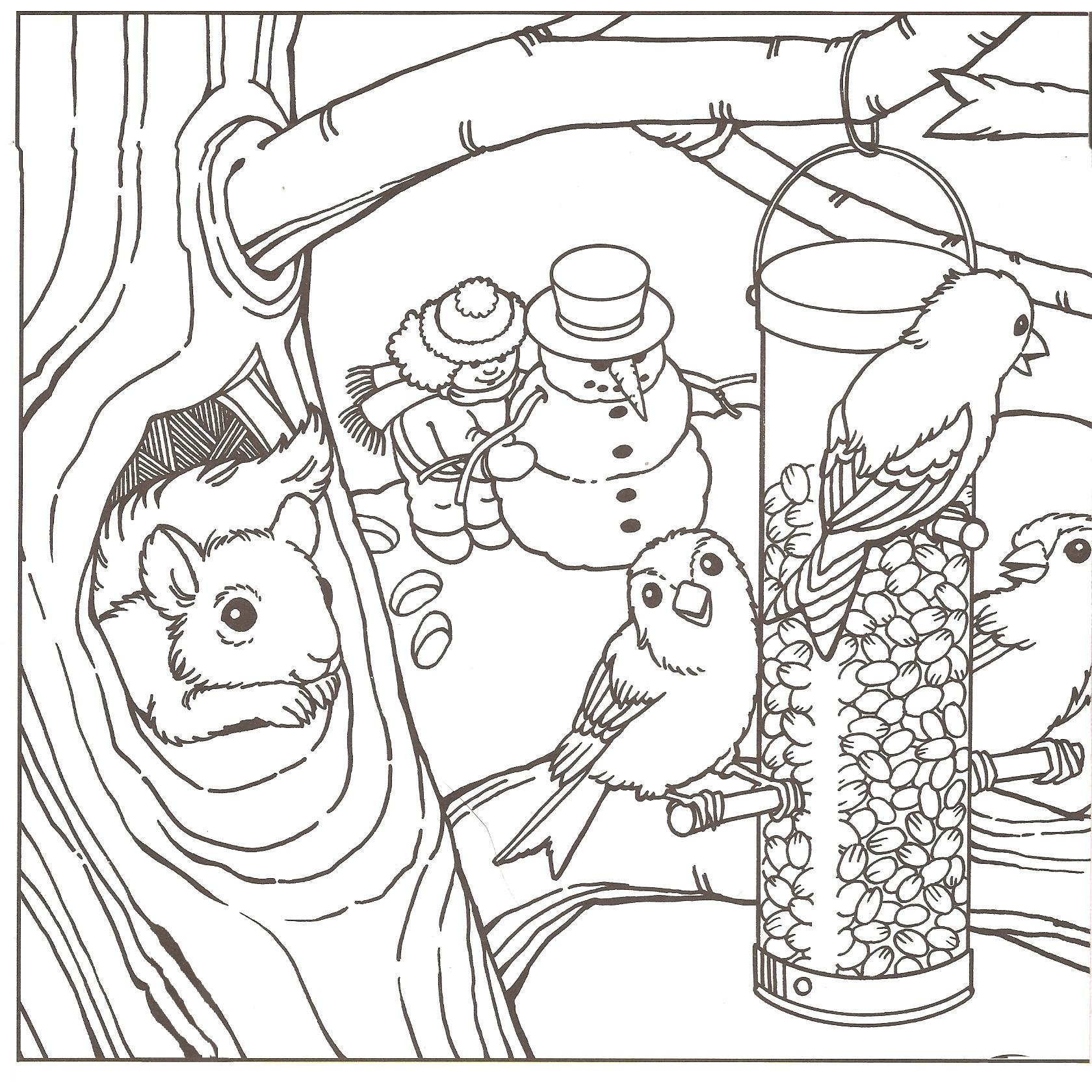 Free Coloring Pages Of Winter Scene